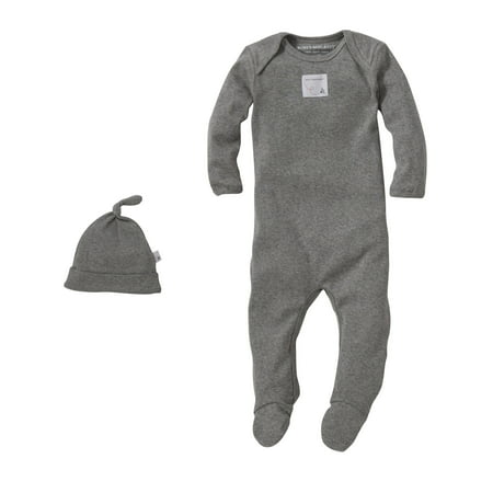 Organic Solid Footed Coverall + Knot Top Hat Set, 9M, Heather Grey - Le Top Boys Coverall