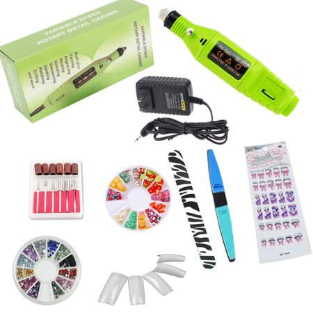 iMeshbean Professional Colorful Nail Art Drill Kit Electric File Buffer Acrylics 6 File Pedicure Machine with Gifts USA-Green