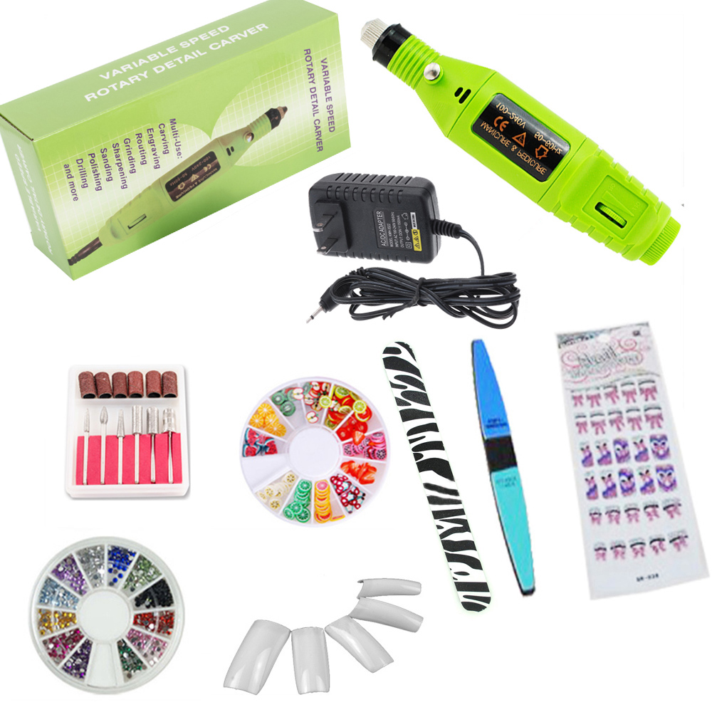 iMeshbean Professional Colorful Nail Art Drill Kit Electric File Buffer Acrylics 6 File Pedicure Machine with Gifts-Green