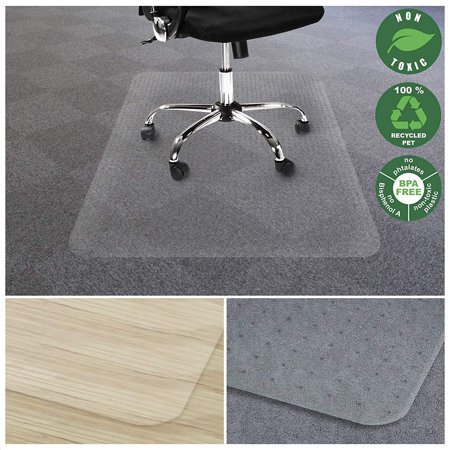 E-joy Chair Mat for Carpet | Eco-Friendly Series Chair Floor Protector | 100% Recycled (PET) Floor Mat for Office or Home Use | Multiple Sizes | Translucent - 36'' x -