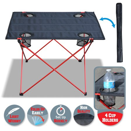 Sunrise Portable Folding Camping, Picnic, Beach Table, Ultra-light, 4 Cup holder, with Carry Bag, Black Color (Large)