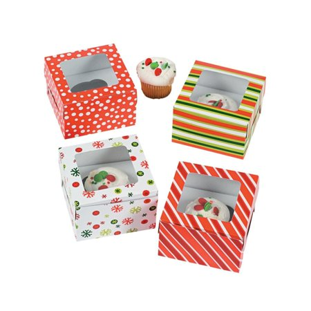 SET OF 12 STRIPED & SNOWFLAKE CUPCAKE BOXES with Insert - 4 FUN DESIGNS - 4.5