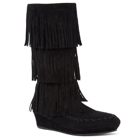 New Girls Suede Fringe Tassel Moccasin Faux Suede Fashion Children Boots Shoes (Black- Snowball, Little Kid