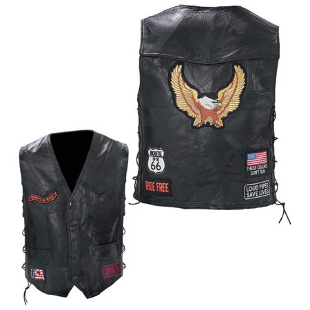 Diamond Plate™ Rock Design Genuine Buffalo Leather Biker Vest - 3x - GFVBIKE3X