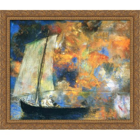Flower Clouds 32x28 Large Gold Ornate Wood Framed Canvas Art by Odilon Redon