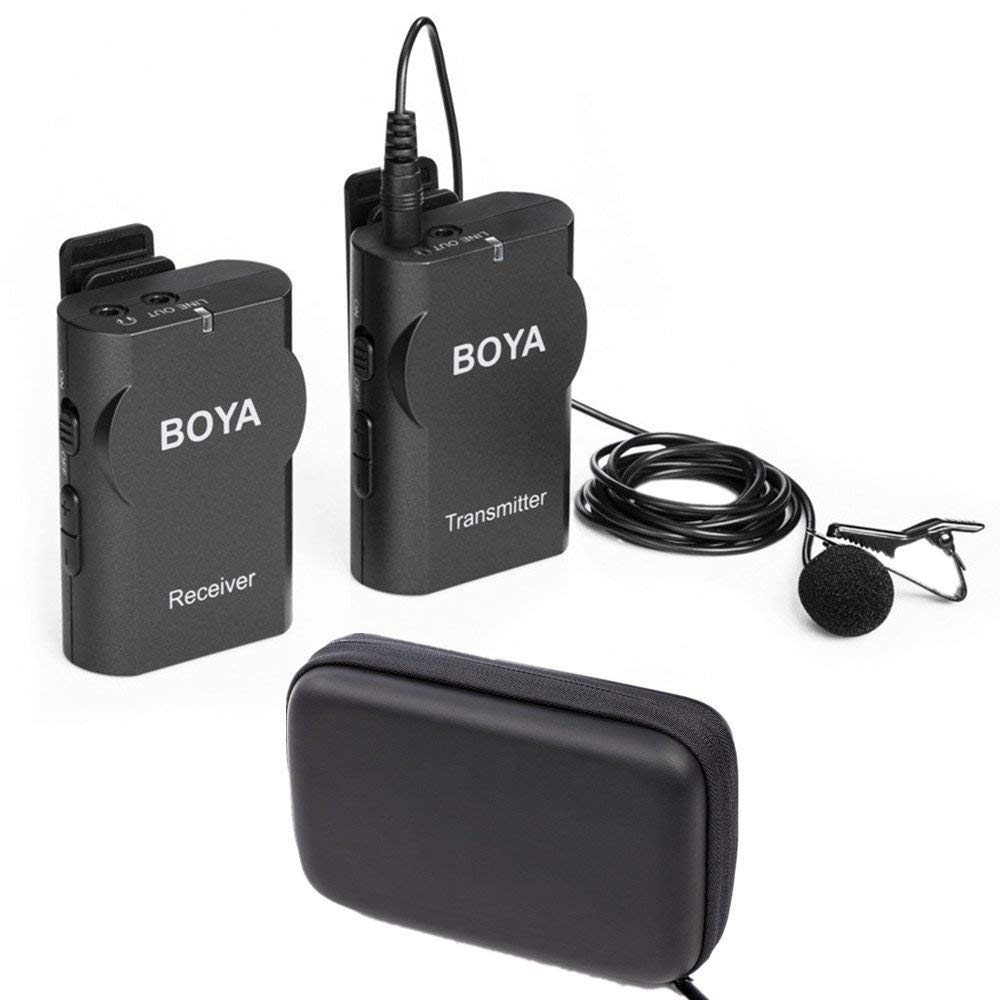 Boya BY WM4 Wireless Lavalier Microphone System for Canon Nikon Sony Panasonic DSLR Camera Camcorder Iphone An