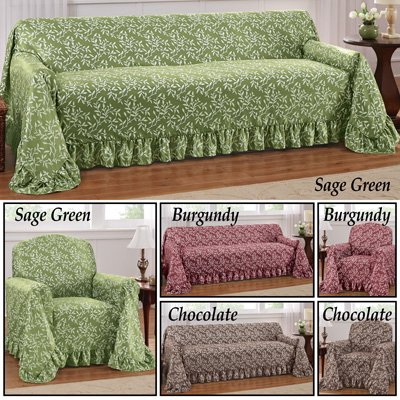 Swell Leaf Design Furniture Cover With Ruffled Border Sofa Burgundy Gmtry Best Dining Table And Chair Ideas Images Gmtryco