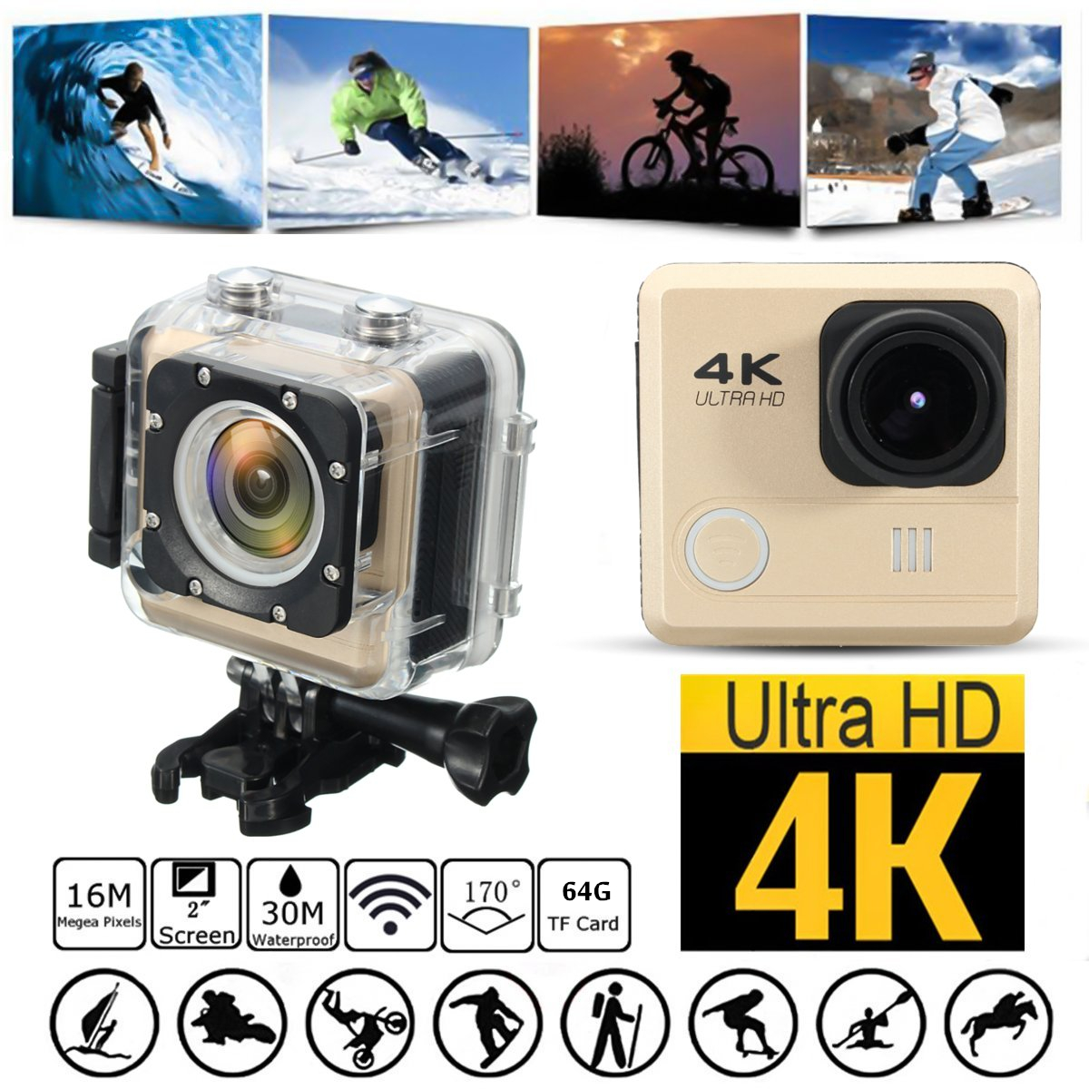 4K WIFI Sport Action Sports & Outdoors Camera Waterproof Sport Camcorders Cam 170 Degree Wide Angle Lens