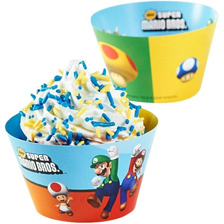 Super Mario Bros Reversible Cupcake Wrappers Walmart Com