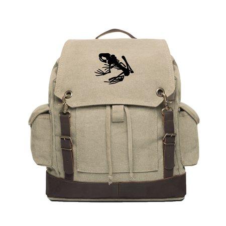 Rucksack System (navy seal team devgru frog skeleton canvas rucksack backpack with leather straps)