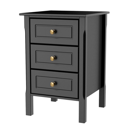 Cabinet Accent Table - Nightstand Bedside Table End Side Stand Accent Table Cabinet 3 Drawers Bedroom Storage Furniture Black
