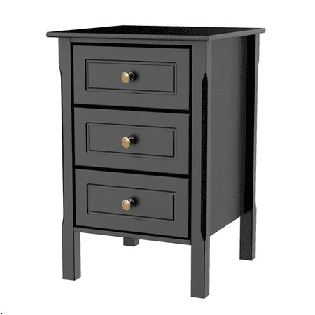 Nightstand Bedside Table End Side Stand Accent Table Cabinet 3 Drawers Bedroom Storage Furniture Black