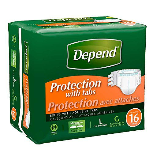 Depend Adult Incontinent Brief  Tab Closure, Disposable, Heavy Absorbency, Large / X-Large, 35 - 49 Inch , 16 Count