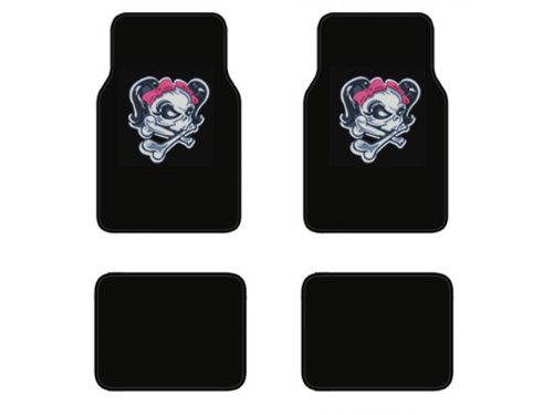 A Set of 4 Universal Fit Plush Carpet Floor Mats For Cars   Trucks Lady Skull with Pink Bow Tie by LavoHome
