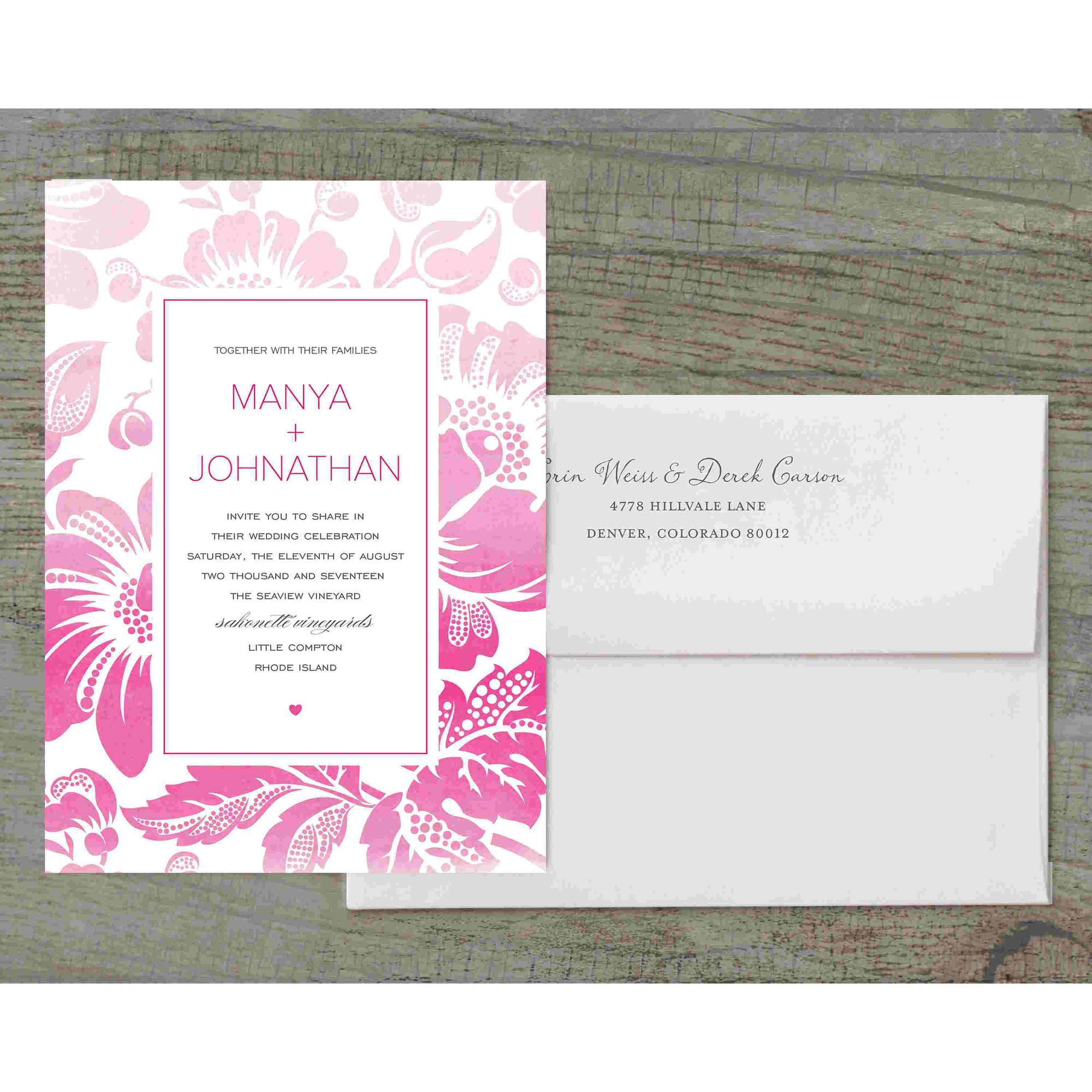 Ombre Floral Deluxe Wedding Invitation - Walmart.com