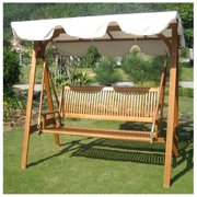 Royal Tahiti 3-Seater Balau Swing with Frame and Canopy, Contemporary