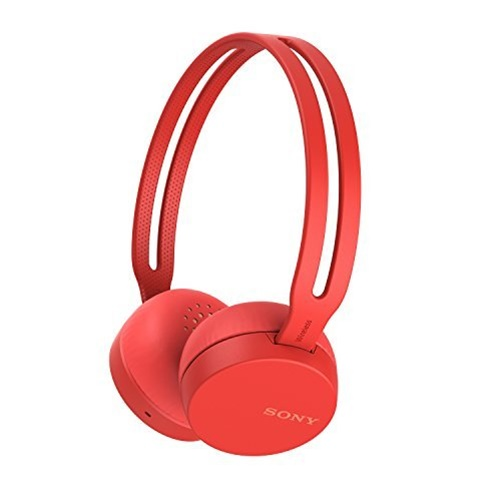 Sony WH-CH400 - Headphones with mic - on-ear - Bluetooth - wireless - NFC - active noise canceling - red