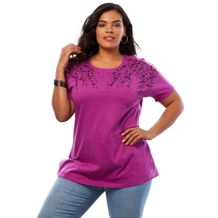 Plus Size Embellished Tunic With Side Slits