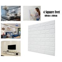 3D Brick Wallpaper Peel and Stick Self-adhesive White Faux Brick Textured Real Brick Looking Effect for Wall Decoration