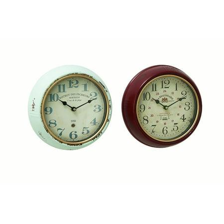 Decmode Modern 10 Inch Round Vintage Iron Wall Clocks - Set of 2 (Round Set Clock)