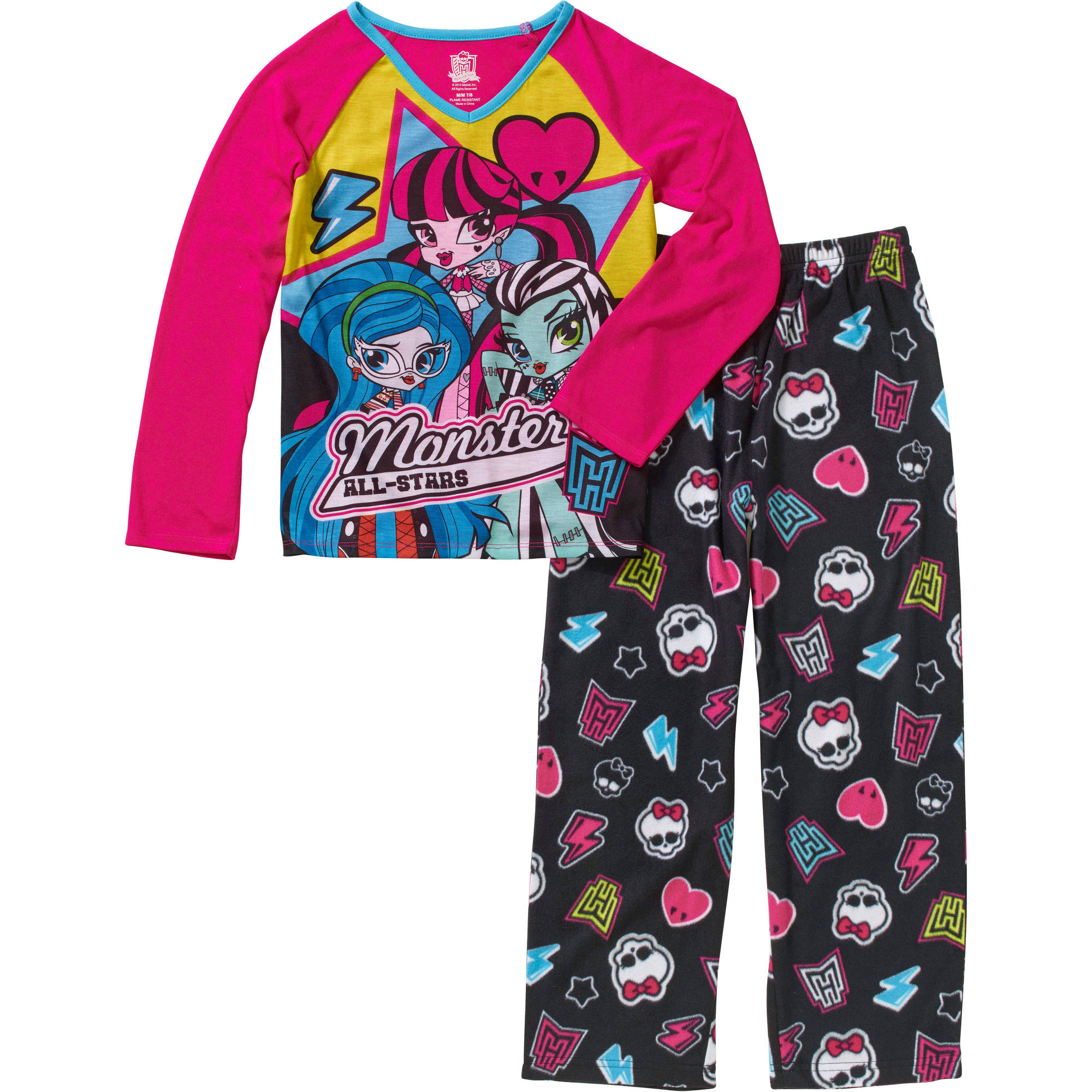 Monster High Girls' License Fleece Sleep Pant & Poly Top 2 Piece Pajama Set