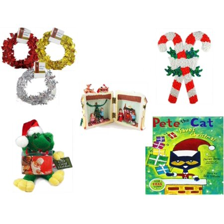 - Christmas Fun Gift Bundle [5 Piece] - Brite Star Red, Silver, Gold Foil Garland 2.5' Ft. Ea. - Vintage 1960's Kage Co. Melted Popcorn Candy Cane - Santa's Here Story House Resin Figurine -  Santa Fr