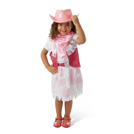 Melissa & Doug Cowgirl Role Play Costume Set (5pcs) - Skirt, Hat, Vest, Badge, Scarf - Costume Badges