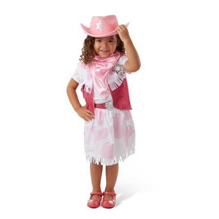 Melissa & Doug Cowgirl Role Play Costume Set (5pcs) - Skirt, Hat, Vest, Badge, Scarf