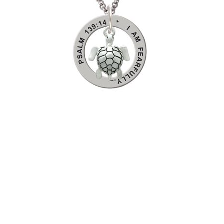 Sea Turtle Psalm 139:14 Affirmation Ring - Sea Turtle Necklace