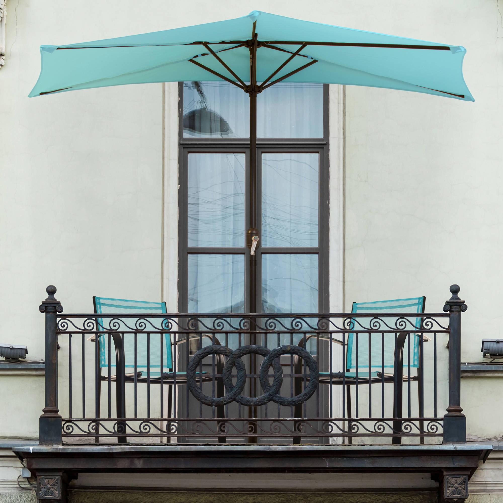 Pure Garden 9' Half Round Patio Umbrella by Trademark Global