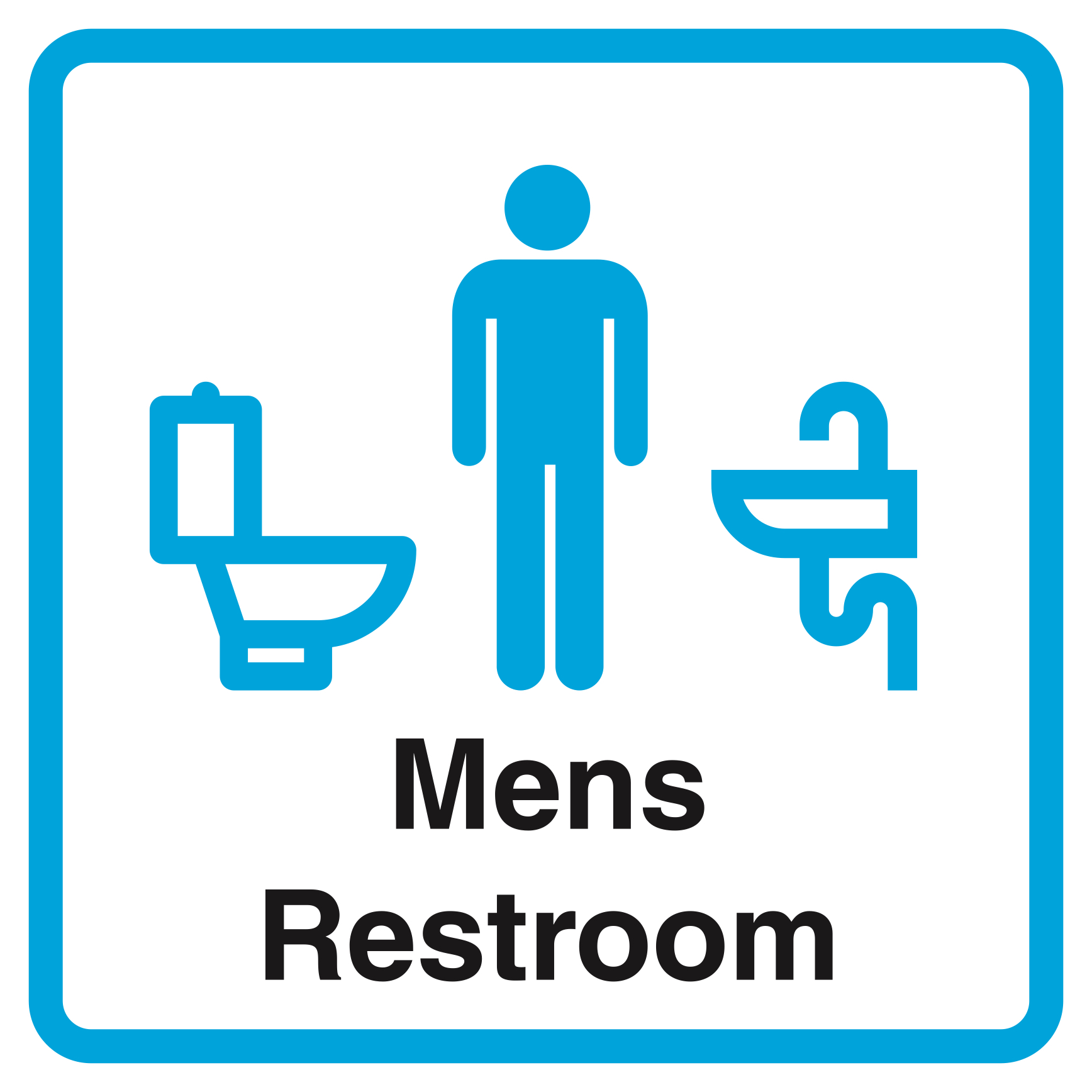Mens Restroom Print Blue Bathroom Picture Office Business