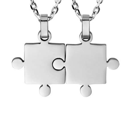 "a6273e6360 Urban Jewelry - His & Hers Puzzle Matching Piece Couples Pendant Necklace  Set with 19"" & 21"