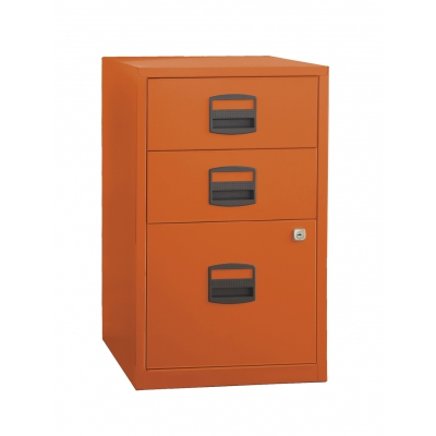 Bisley Three Drawer Steel Home Filing Cabinet, Orange BDSFILE3OR by Bindertek