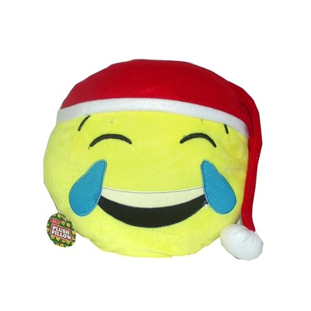Emoji Christmas Pillow, 11 inches (Laughing with Joy Santa (Red Hat))