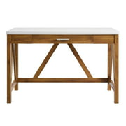 "46"" A-Frame Desk with Natural Walnut Base and White Faux-Marble Top"