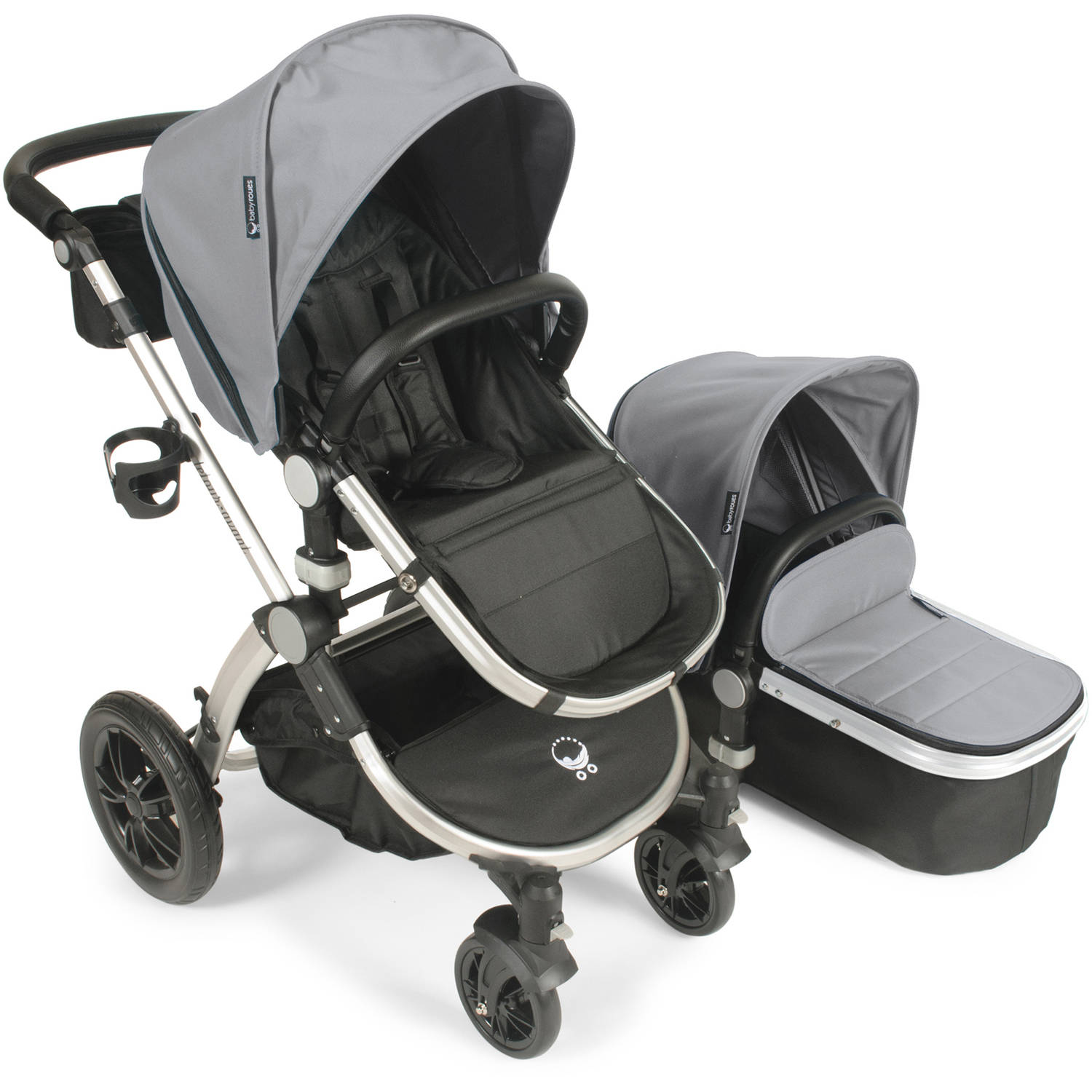 Babyroues Letour Avant Stroller with Bassinet Silver Frame, Silver Fabric