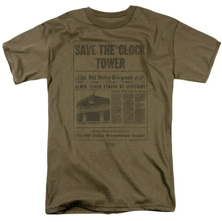 Back To The Future Science Fiction Movie Clock Tower Adult T-Shirt (Back To The Future Clock Tower Universal Studios)