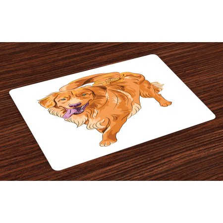 Golden Retriever Placemats Set of 4 Playful Dog Running with a Smiling Face Best Friend and Companion, Washable Fabric Place Mats for Dining Room Kitchen Table Decor,Orange Violet White, by Ambesonne 4' Golden Retriever Face
