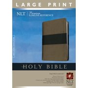 Premium Slimline Reference Bible NLT, Large Print, TuTone (Red Letter, LeatherLike, Taupe/Black)