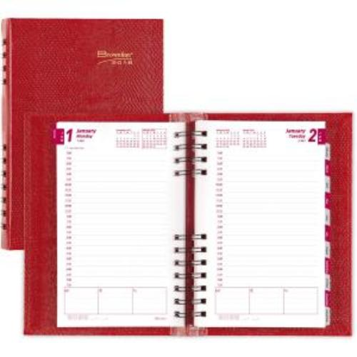 """Rediform CB634C.RED Blueline Brownline Coilpro Daily Appointment Planner - 5"""" X 8"""" - Red"""