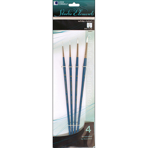 Loew-Cornell 1024917 Studio Elements Long Handle White Nylon Round Brush Set, 4-Piece
