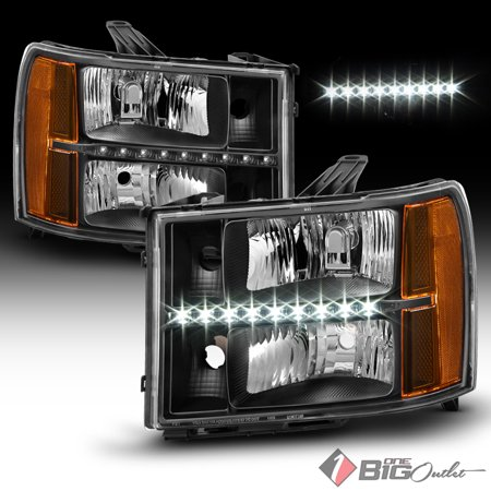 (2007-2013 GMC Sierra Black Housing Headlights w/ LED DRL Strip Pair L+R 2008 2009 2010 2011 2012)
