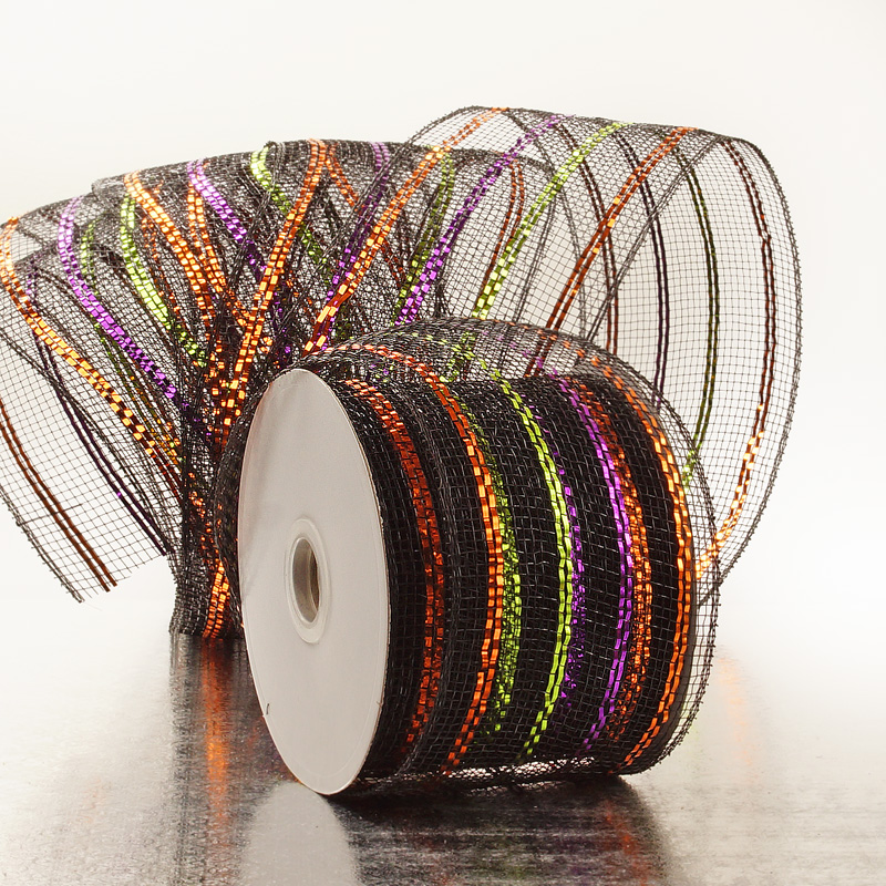"2 1/2""X20 Yards Gold W/Silver Mtlc Laser Deco Mesh Ribbon  by Paper Mart"