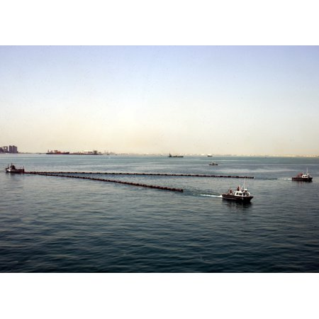 Framed Art For Your Wall MANAMA, BahrainTwo offshore skimmers tow a boom (floating barrier) across the water during an oil 10x13 Frame