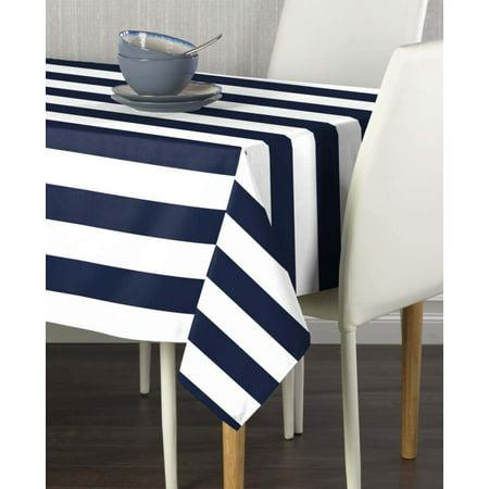 Navy & White Cabana Stripe Tablecloth 54