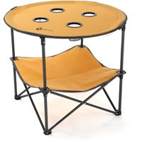 ARROWHEAD OUTDOOR Heavy-Duty Portable Folding Table, 4 Cup Holders, No Sag Surface, Compact, Round, Carrying Case, Steel Frame, High-Grade 600D Canvas, Lower Storage Area, USA-Based Support
