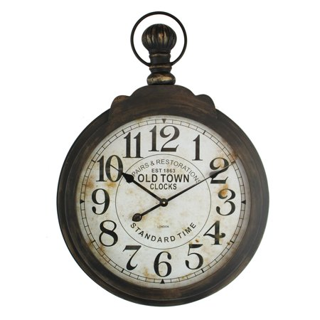 Yosemite Home Decor Iron Ring and Glass Lens Wall Clock - 23.5W x 33H in. ()