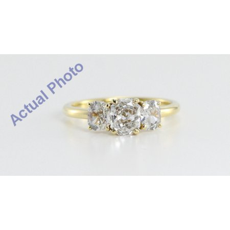 18k Yellow Gold Three Stone Radiant Cut Diamond Engagement Ring (1.15 Ct, H Color, VS