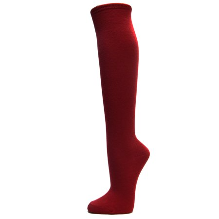 Couver Cotton Plain Fashion Casual Ladies / Girls Cute Knee High Socks, Burgundy Small (50s Socks)