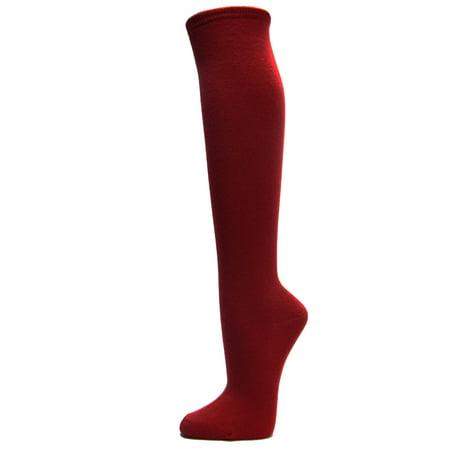 Couver Cotton Plain Fashion Casual Ladies / Girls Cute Knee High Socks, Burgundy Small (Knee High Burgandy Socks)